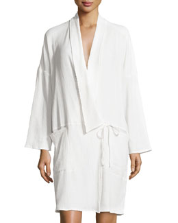 Double-Layer Short Robe, Crane White