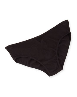 Organic Cotton Boyshorts W/Tulle Inset, Black