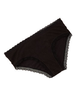 Organic Cotton Lace Boyshorts, Black