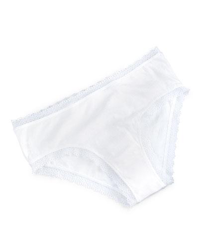 Organic Cotton Lace Boyshorts, White