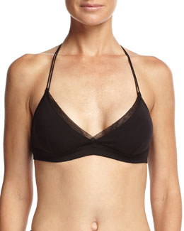Tulle-Trim Basic Bralette, Black