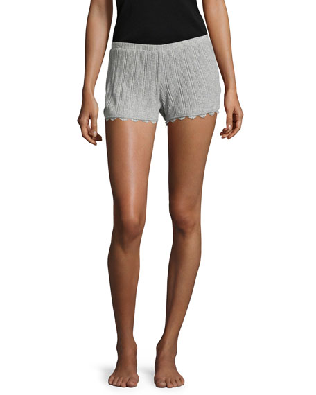 Skin Lace City Ribbed Boxers, Heather Gray