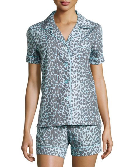 Bedhead Wild Thing Shorty Pajama Set, Gray/Aqua