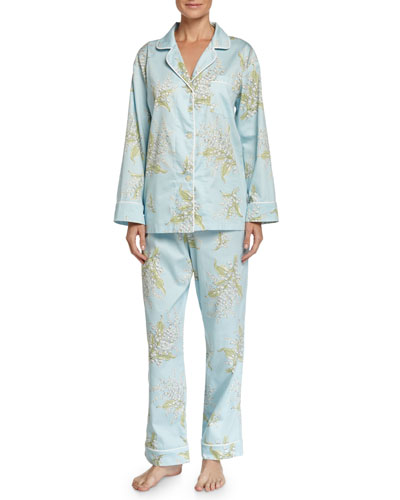 Lily of the Valley Classic Sateen Pajama Set, Turquoise, Women's