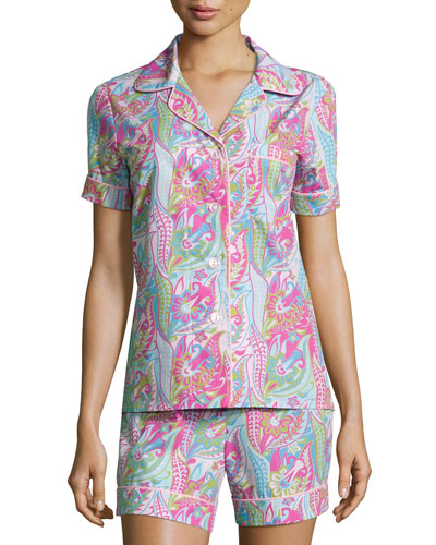 Bedhead Sergeant Pepper Shorty Pajama Set, Pink/Turquoise,