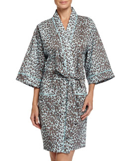 Wild Thing Kimono Robe, Gray/Aqua