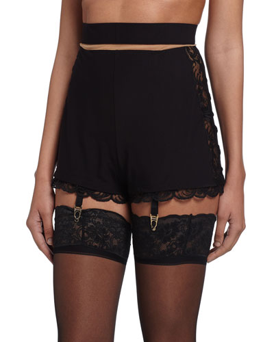 Zephyra Lace Garter Belt with Boyshorts