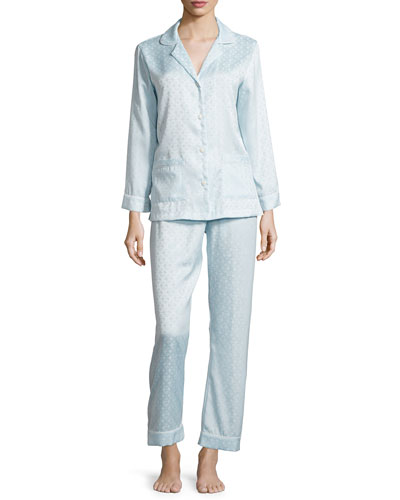 Jacquard Long Pajama Set, Glacier Blue
