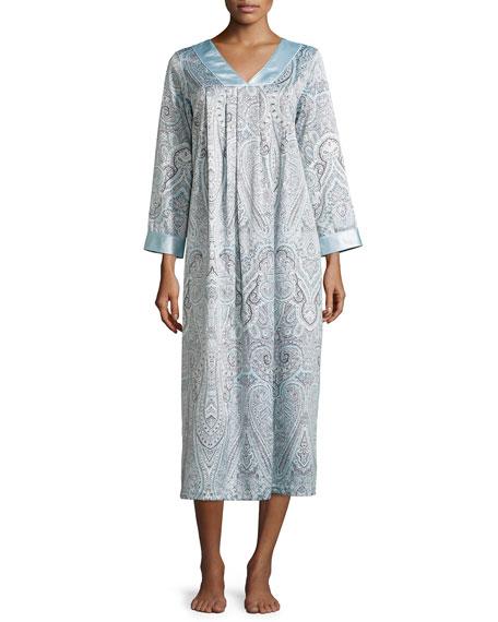 Oscar de la RentaBrushed-Back Satin Paisley-Print Long Gown,