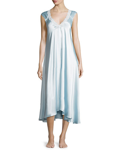 Charmeuse Lace-Trimmed Gown, Glacier Blue