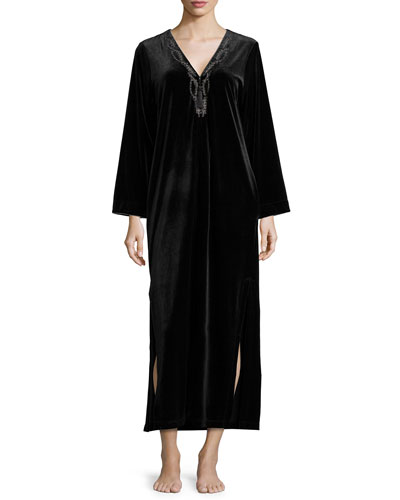 Embroidered Velvet Zip Caftan, Black