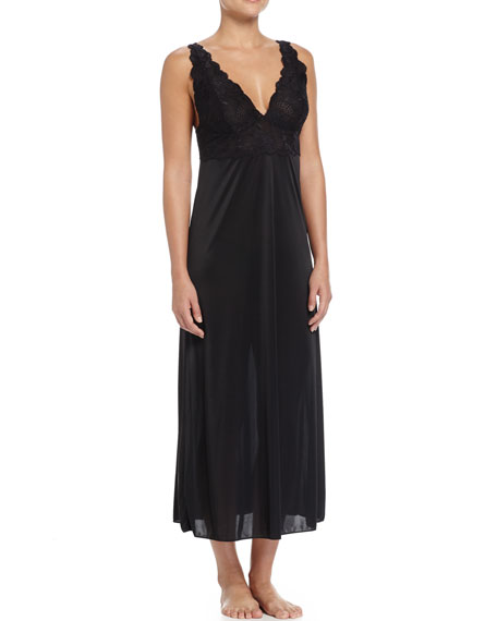 Natori Slinky Lace-Front Long Gown, Black