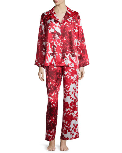 Ottoman Floral-Printed Pajama Set, Cranberry