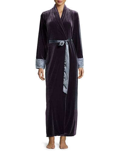 Moonlight Velvet Long Wrap Robe, Slate