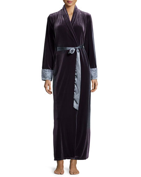 Jonquil Moonlight Velvet Long Wrap Robe, Slate