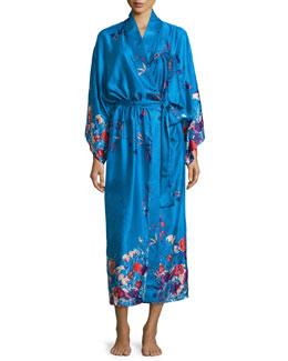 Nadja Floral Satin Robe, Blue/Multi