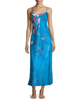 Nadja Floral Satin Gown, Blue/Multi