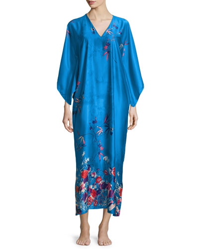 Nadja Drop-Sleeve Pajama Gown, Blue/Multi