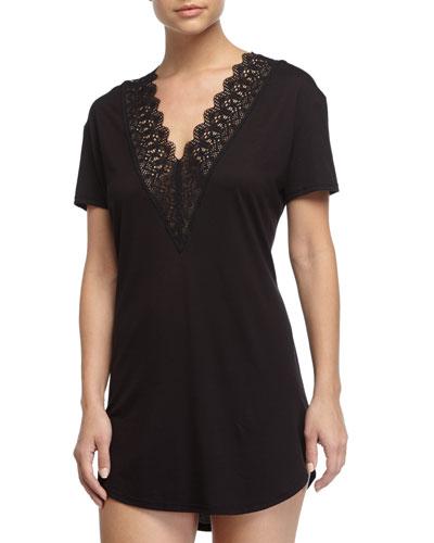 Edith Lace-Trim Short-Sleeve Sleepshirt, Black