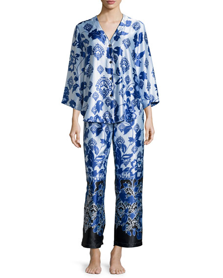 Oscar de la Renta Floral-Print Long Pajama Set,