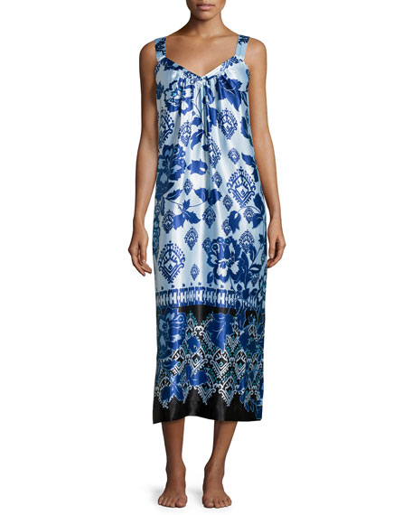 Oscar de la Renta Floral V-Neck Sleeveless Gown, Blue Chandelier