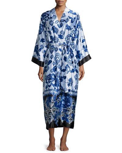 Floral-Print Long Wrap Robe, Blue Chandelier