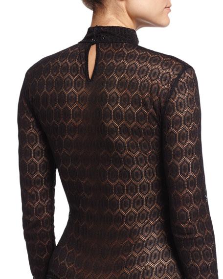Dentelle Sheherazade Lace Thong-Back Bodysuit, Noir