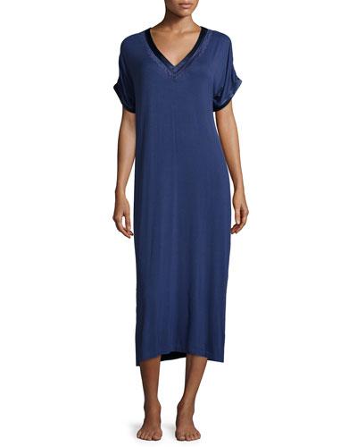 Lace-Trim V-Neck Long Gown, Sapphire Blue
