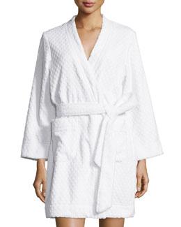 Embossed-Terry Short Wrap Robe, Signature White