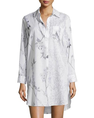 Sakura Floral-Print Sleepshirt, White