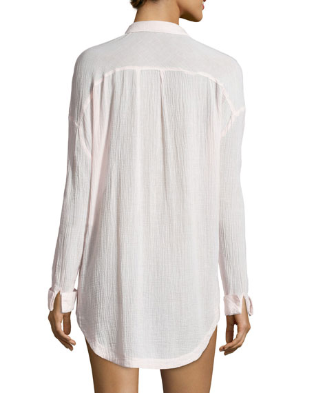 Gauze Button-Down Boyfriend Shirt, Rose Gauze