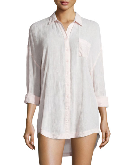 Skin gauze button down boyfriend shirt rose gauze for Gauze button down shirt