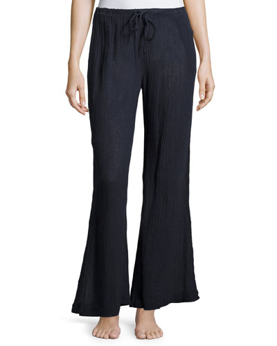 Palazzo Wide-Leg Lounge Pants, Midnight