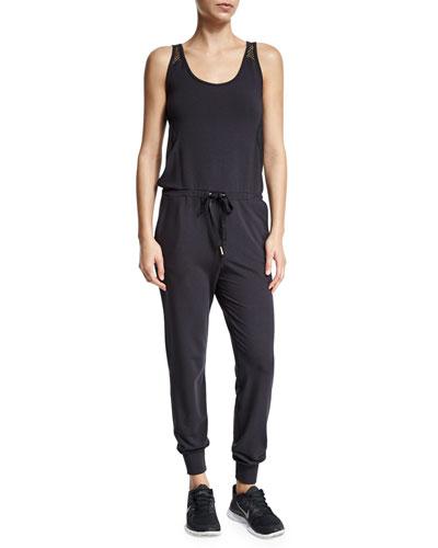 Alala Bondi Mesh-Shoulder Athletic Jumpsuit