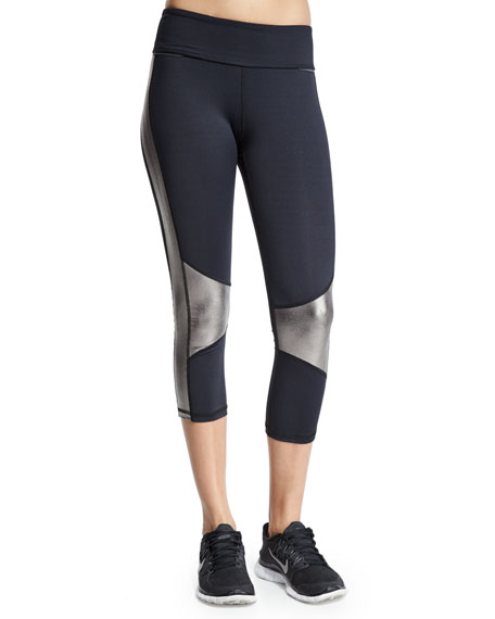 Alala Blocked Metallic-Insert Cropped Sport Leggings