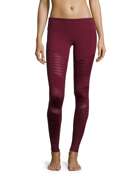 Alo Yoga Moto-Style Stretch Sport Leggings, Deep Plum