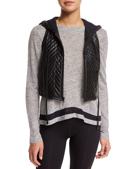 Polar Quilted-Chevron Cropped Sport Vest