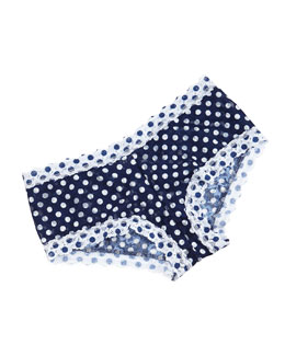 Low-Rise Dots & Spots Boyshorts, Navy/White
