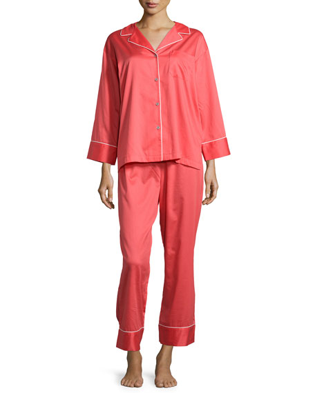 Natori Solid Sateen Two-Piece Pajama Set, Duchess Rose