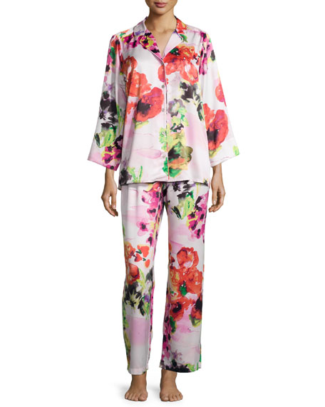 Natori Waterspring Floral-Print Long-Sleeve Pajama Set, Pink
