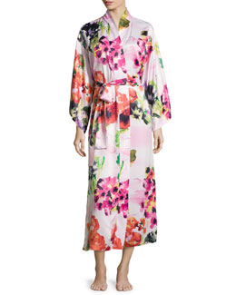Waterspring Floral-Print Wrap Robe, Pink Multi
