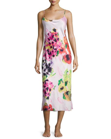 Natori Waterspring Floral-Print Jersey Gown, Pink Multi