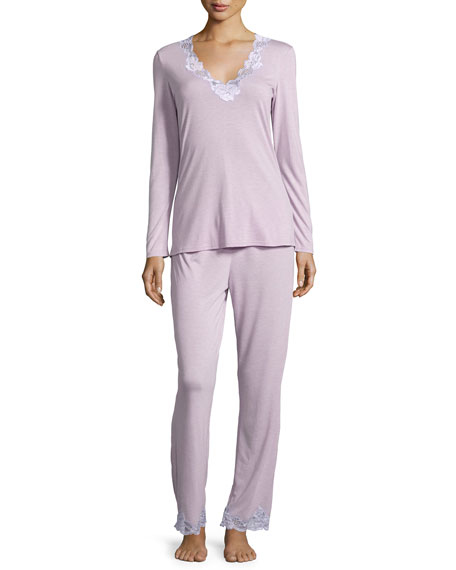 Natori Zen Two-Piece Pajama Set with Floral Lace, Light Lilac