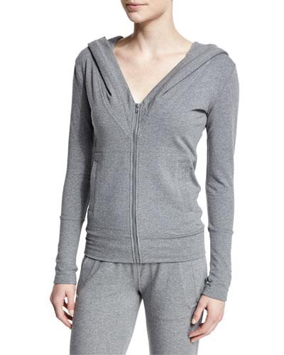 Zip-Front V-Neck Sport Hoodie, Dark Gray