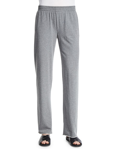 Norma Kamali Straight-Leg Boyfriend Sweatpants, Light Gray