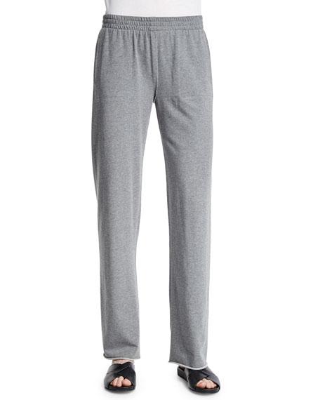 Norma Kamali Straight-Leg Boyfriend Sweatpants, Light Gray