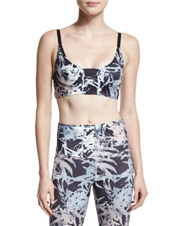 Printed Bra Sport Top W/Strappy Back, Bamboo/Black