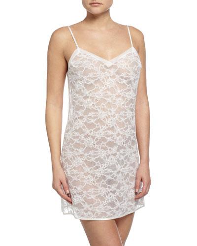Valeria Low-Back Lace Chemise, White