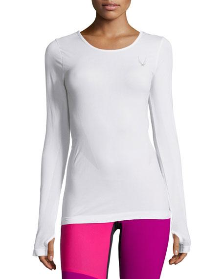 Lucas Hugh Long-Sleeve Round-Neck Athletic T-Shirt, White