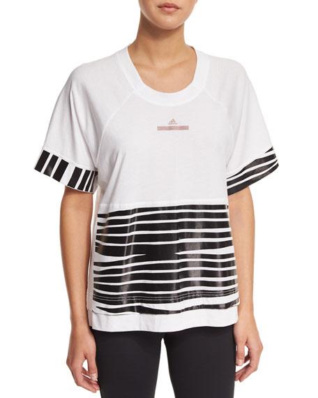 Essentials Short-Sleeve Zebra-Print Tee, White